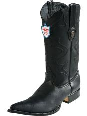 JSM-4107 Mens Black Wild West Elk Leather 3x Toe