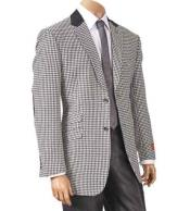 SM1277 Single Breasted Black/White Hounds Tooth Notch Lapel Elbow