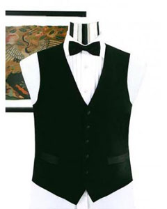 V752GA Simple Liquid Jet Black Not Shiny Tuxedo Vest
