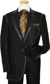 KA1327 Liquid Jet Black Denim Iridescent Suit With Rust