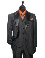 PN74 Liquid Jet Black Denim Tuxedo 3 Piece Suit