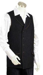 AC-955 Liquid Jet Black Double Breasted Denim Long Vest
