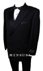 W110 2-Button Peak Lapel Double Breasted 1920s Style Tuxedo