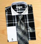 AC-434 Windowpane Plaid Pattern Dress Fashion Shirt/ Tie /