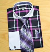 Windowpane Plaid Pattern Dress Fashion Shirt/ Tie / Hanky