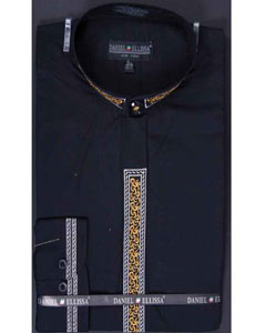 SM643 Liquid Jet Black Dress Shirt Fancy Stitched Banded
