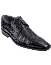 JSM-4939 Mens Genuine Caiman Belly Oxfords Style Black Los