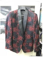 N-114 Mens Floral Designed Black Shawl Lapel Black tuxedo