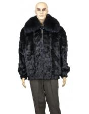 GD745 Mens Fur Black Genuine Mink Full Skin Fox