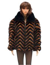 GD760 Fur Black/Whiskey Chevron Mink Jacket with Black Fox