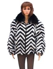 GD761 Fur Black/White Chevron Mink Black Fox Collar Jacket