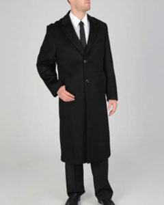 AB123 Harvard Liquid Jet Black Wool Fabric-cashmere Full-length Coat