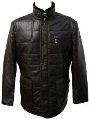 MK854 Liquid Jet Black Quilted Lamb Leather Jacket Available