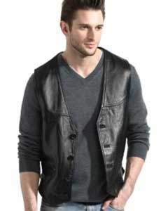PNV66 Liquid Jet Black Lambskin Leather Classic Dress Vest