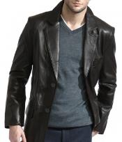 PN90 Classic 2-Button Liquid Jet Black Lambskin Leather Blazer