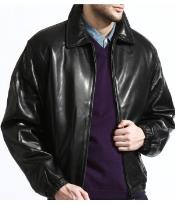 PN80 Classic Liquid Jet Black Lambskin Leather Bomber Jacket