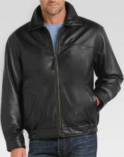 MK818 Full-Zip Closure Liquid Jet Black Lambskin Leather Bomber