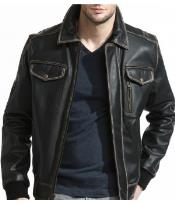 PN82 Slim narrow Style Distressed Leather Bomber Jacket Liquid