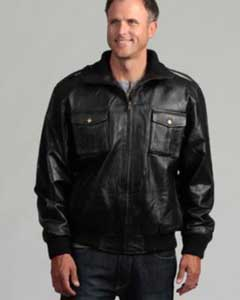 AC-201 Pig Napa Leather Military Bomber Jacket Liquid Jet