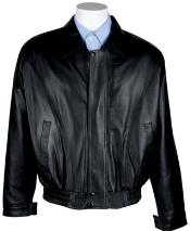 RM1635 Zip-Out Liner Nappa Leather Bomber Jacket Black Available
