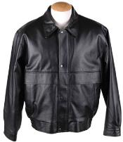 RM1643 Removable Liner & Button Leather Bomber Jacket Black