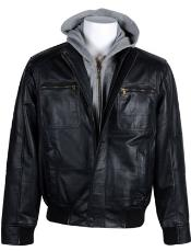 RM1650 Leather Bomber with Removable Hood Black Available in