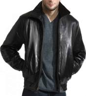 JSM-778 Mens Classic Front Zipper Closure Lambskin Leather Black