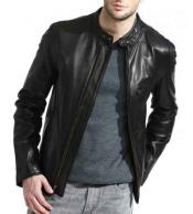 JSM-768 Mens Black Full Sleeve Zipper Closure Lambskin Leather