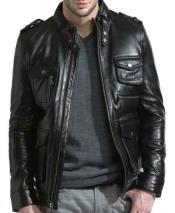 JSM-786 Mens Black Front Zipper Closure Lambskin Leather European