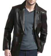 JSM-790 Mens 2 Button Black Classic Lambskin Leather Blazer