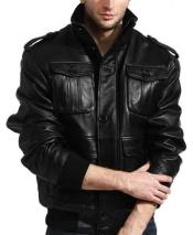 JSM-817 Mens Lambskin Leather Shoulder Epaulets Military Safari Bomber