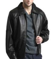 JSM-824 Mens Black Retro Throwback Semi-Naked Lambskin Bomber Zip