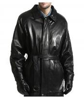 JSM-894 Mens Classic Lambsking Leather 3/4 with Belt Jacket