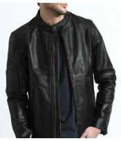 PN86 The Classic Distressed Moto Jacket In 100% Genuine