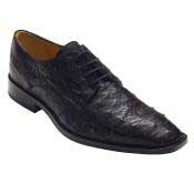 PN-39 Liquid Jet Black Genuine Ostrich Lace-Up