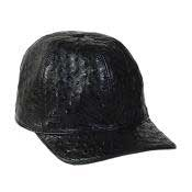 BLK212 Baseball Liquid Jet Black Genuine Ostrich Cap