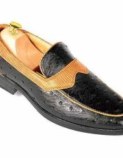 JSM-3006 Mens Ostrich Style Slip-On Loafers Cuban Heel Fashionable