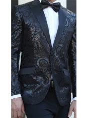 E-141 Mens Paisley Designed Black Peak Lapel Black 1920s