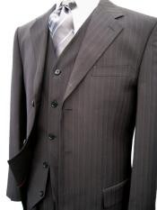 STK273 Liquid Jet Black Pinstripe Superior Fabric 120s Wool