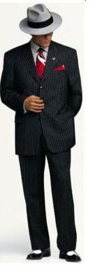 LJN752 Small Jet Liquid Jet Black Pinstripe Fashion Suit