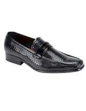 JSM-4965 Mens Plain Toe Oxford Gator Pattern Black Exotic