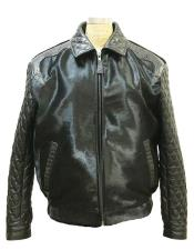 AP606 G-Gator Mens Pony Leather Jacket with Aligator Trimming
