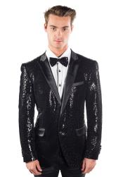 SM4404 Mens Peak Lapel Sequined Reptilian Print Single Breasted