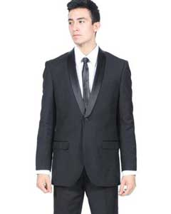 KA7866 All Liquid Jet Black Shawl Collar Slim narrow