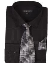 JSM-1455 Mens Black Dress Shirt 60% Cotton 40% Polyester