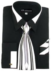 JSM-648 Mens French Cuff Contrast Collar Black Dress Shirt