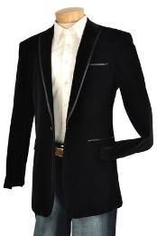 Ka1184 Liquid Jet Black Velvet Velour Jacket / Blazer