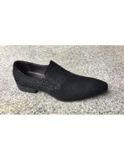 JSM-5503 Mens Genuine Suede Leather Slip-On Black Leopard Loafer