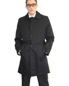 MAB38 Liquid Jet Black Belted Trench Coat
