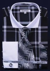 AC-445 Windowpane Plaid Pattern Dress Fashion Shirt/ Tie /